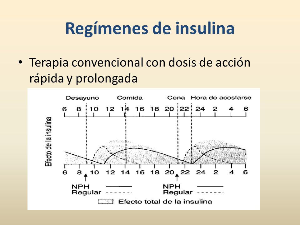 Terapia convencional con dosis de acción rápida y prolongada Regímenes de insulina