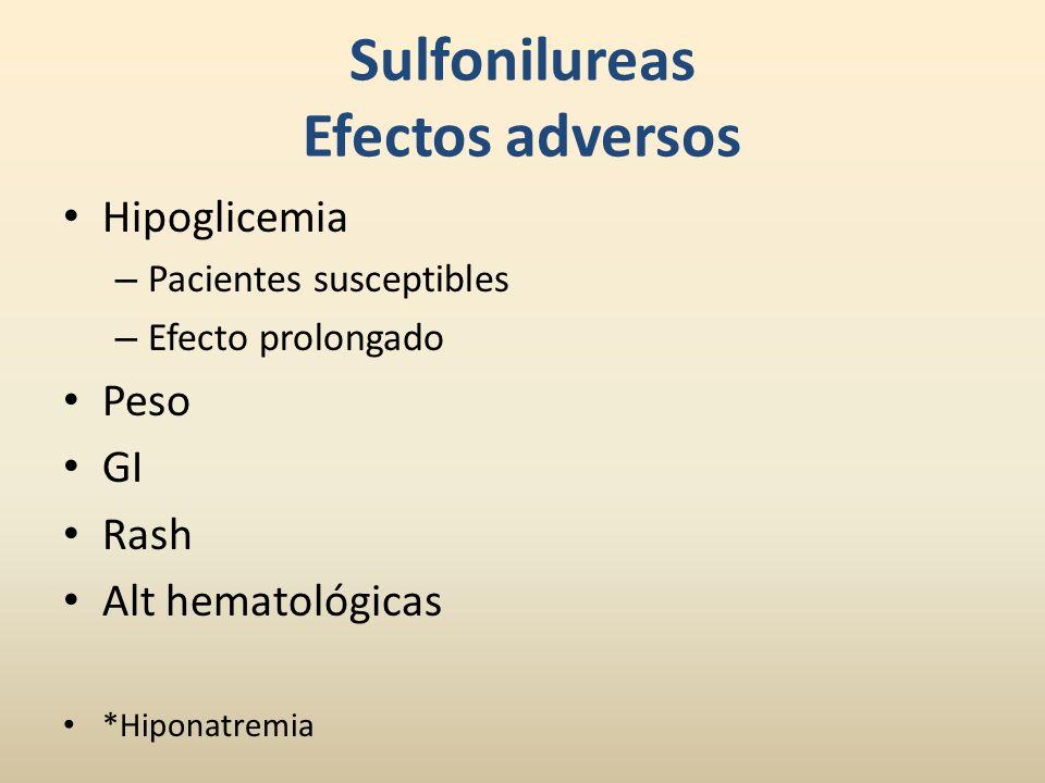 Sulfonilureas Efectos adversos Hipoglicemia – Pacientes susceptibles – Efecto prolongado Peso GI Rash Alt hematológicas *Hiponatremia