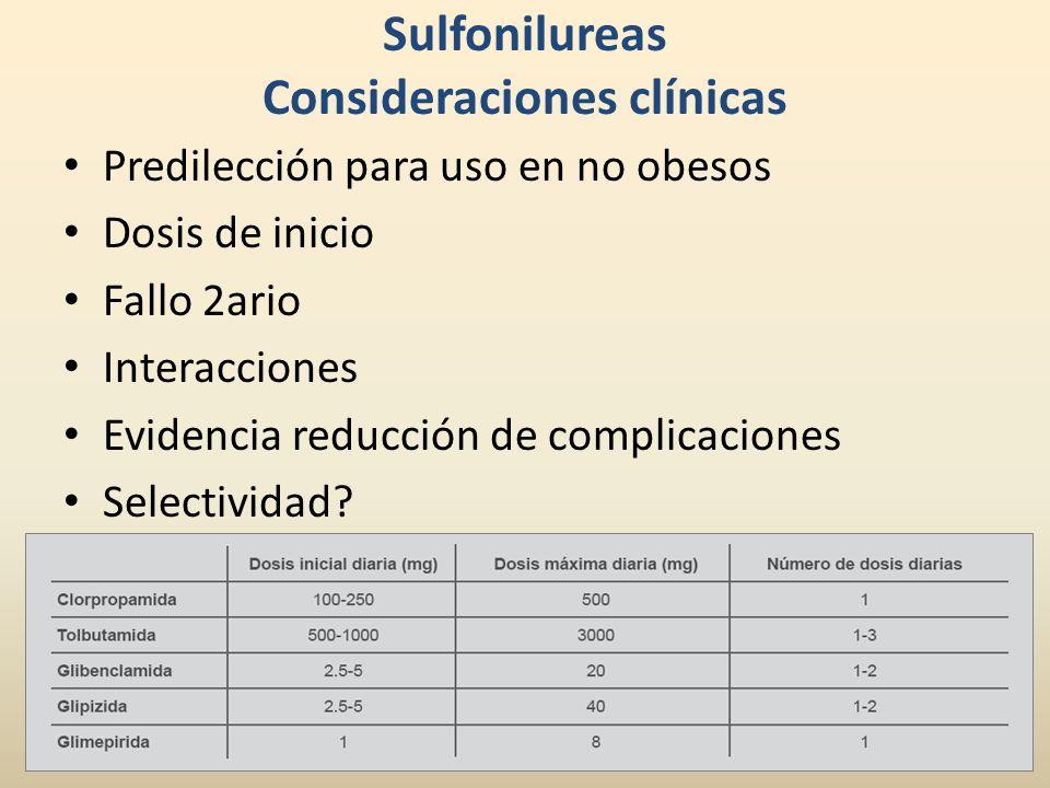 Sulfonilureas Consideraciones clínicas Predilección para uso en no obesos Dosis de inicio Fallo 2ario Interacciones Evidencia reducción de complicacio