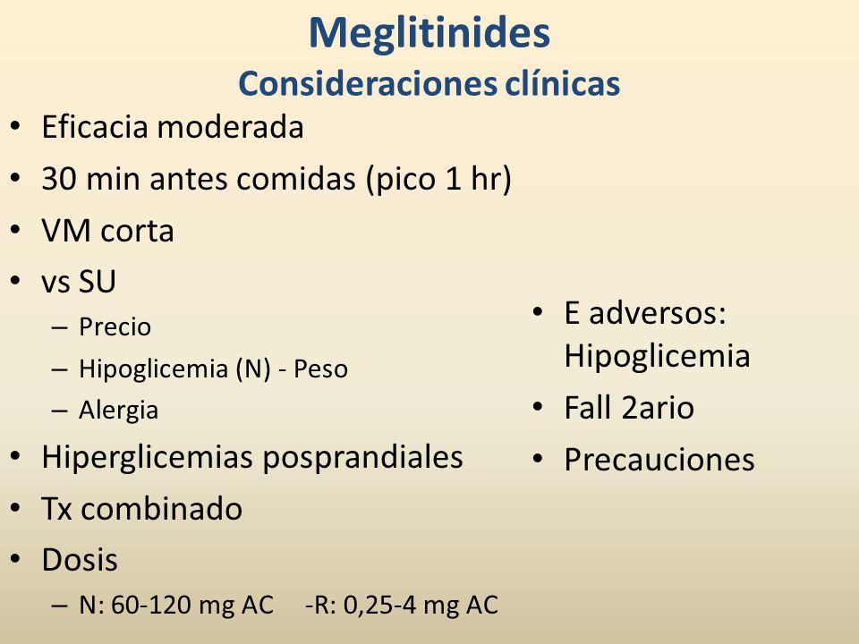 Meglitinides Consideraciones clínicas Eficacia moderada 30 min antes comidas (pico 1 hr) VM corta vs SU – Precio – Hipoglicemia (N) - Peso – Alergia H