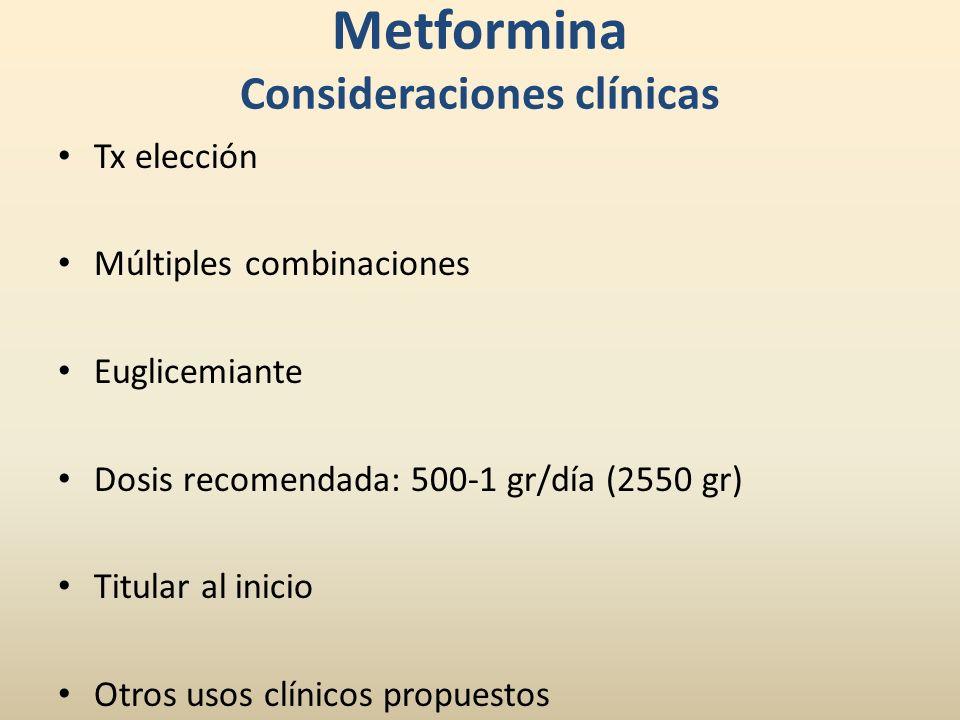 Metformina Consideraciones clínicas Tx elección Múltiples combinaciones Euglicemiante Dosis recomendada: 500-1 gr/día (2550 gr) Titular al inicio Otro