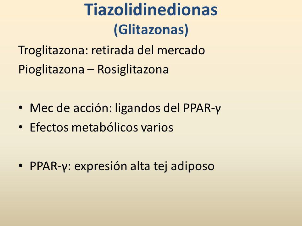 Tiazolidinedionas (Glitazonas) Troglitazona: retirada del mercado Pioglitazona – Rosiglitazona Mec de acción: ligandos del PPAR-γ Efectos metabólicos