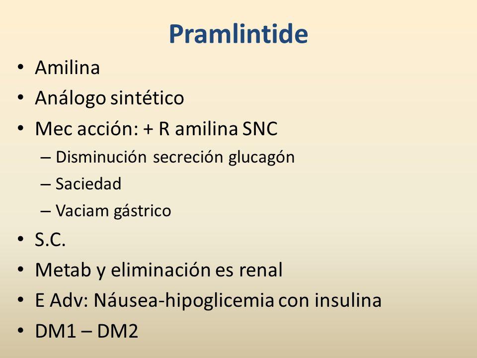 Pramlintide Amilina Análogo sintético Mec acción: + R amilina SNC – Disminución secreción glucagón – Saciedad – Vaciam gástrico S.C. Metab y eliminaci