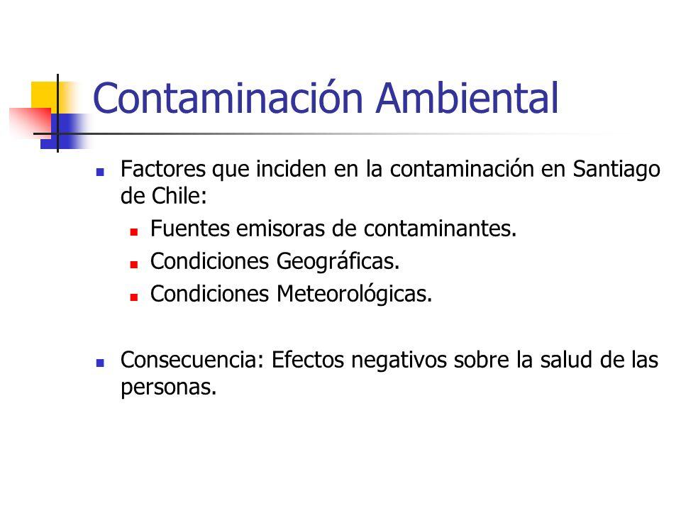 Contaminación Ambiental Factores que inciden en la contaminación en Santiago de Chile: Fuentes emisoras de contaminantes. Condiciones Geográficas. Con