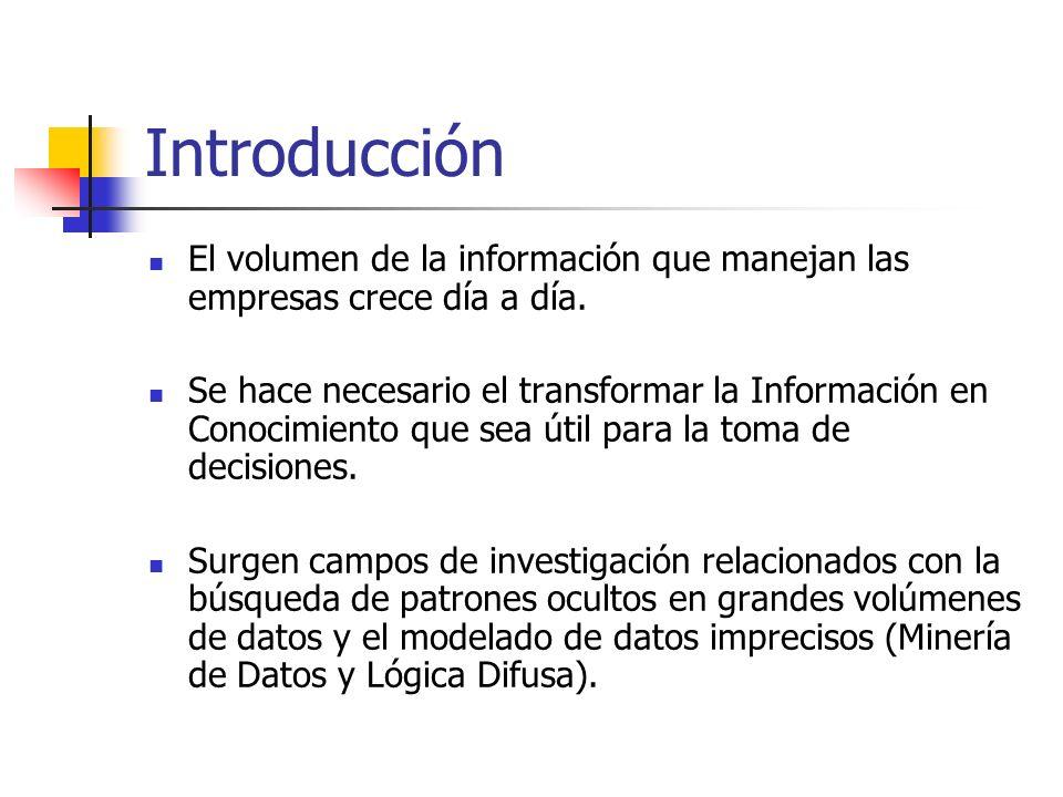 Introducción El volumen de la información que manejan las empresas crece día a día. Se hace necesario el transformar la Información en Conocimiento qu