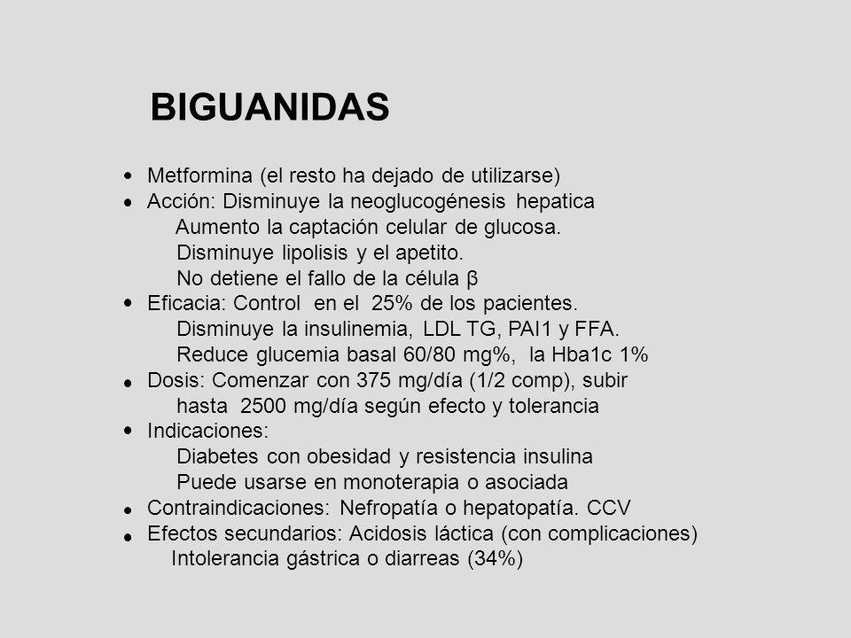 BIGUANIDAS Metformina (el resto ha dejado de utilizarse) Acción: Disminuye la neoglucogénesis hepatica Aumento la captación celular de glucosa. Dismin