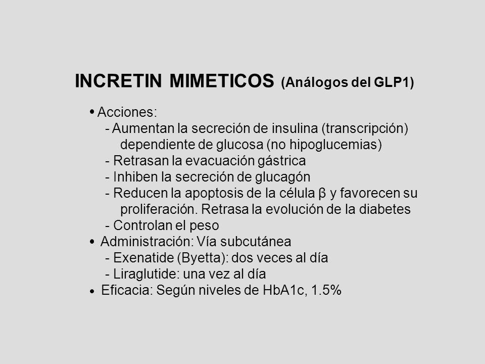 INCRETIN MIMETICOS (Análogos del GLP1) Acciones: - Aumentan la secreción de insulina (transcripción) dependiente de glucosa (no hipoglucemias) - Retra