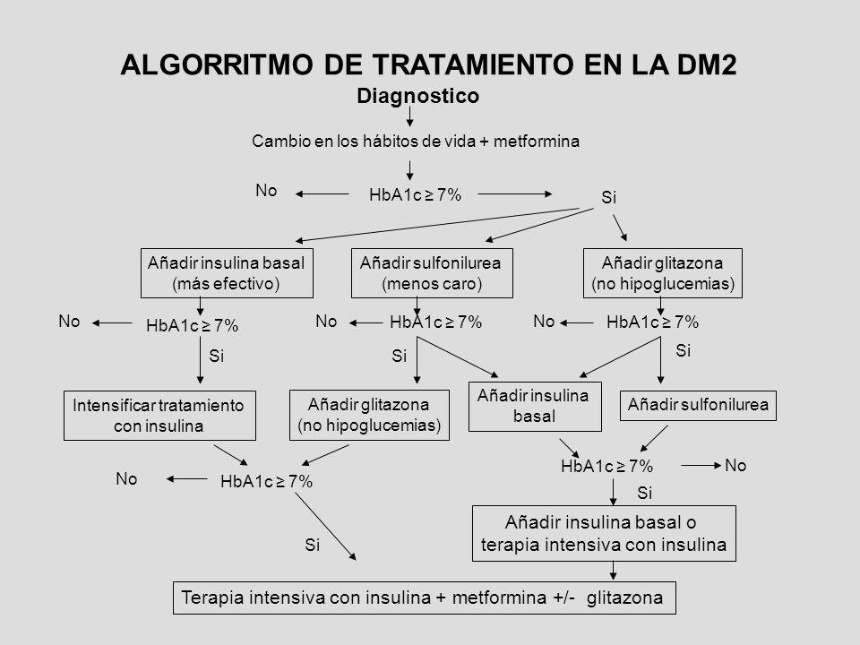 Diagnostico Cambio en los hábitos de vida + metformina HbA1c 7% Añadir insulina basal (más efectivo) Añadir sulfonilurea (menos caro) Añadir glitazona