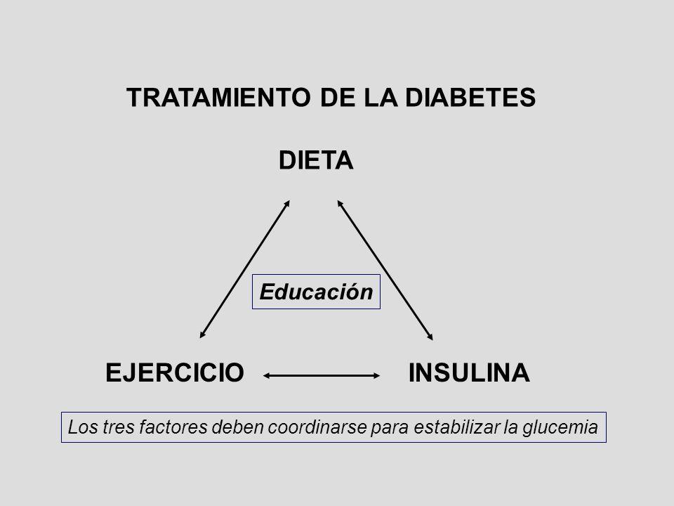 DIETA EJERCICIOINSULINA Educación Los tres factores deben coordinarse para estabilizar la glucemia