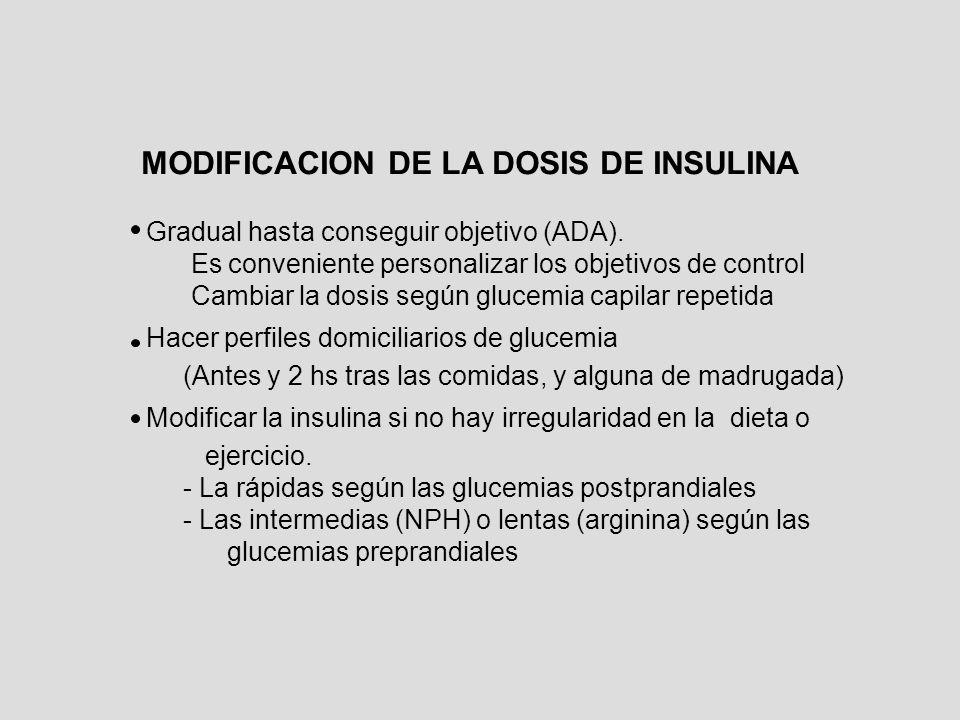 MODIFICACION DE LA DOSIS DE INSULINA Gradual hasta conseguir objetivo (ADA). Es conveniente personalizar los objetivos de control Cambiar la dosis seg