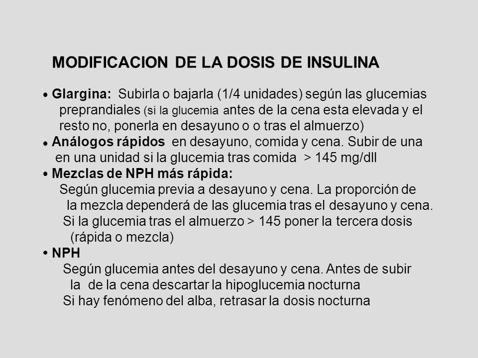MODIFICACION DE LA DOSIS DE INSULINA Glargina: Subirla o bajarla (1/4 unidades) según las glucemias preprandiales (si la glucemia a ntes de la cena es