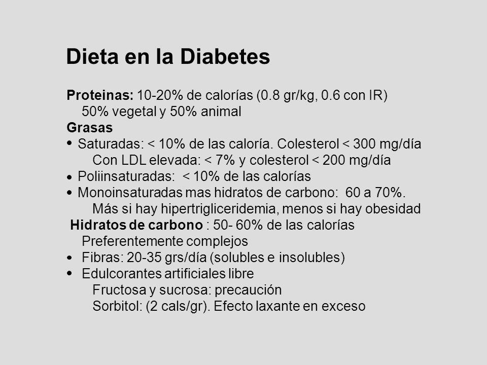 Dieta en la Diabetes Proteinas: 10-20% de calorías (0.8 gr/kg, 0.6 con IR) 50% vegetal y 50% animal Grasas Saturadas: < 10% de las caloría. Colesterol