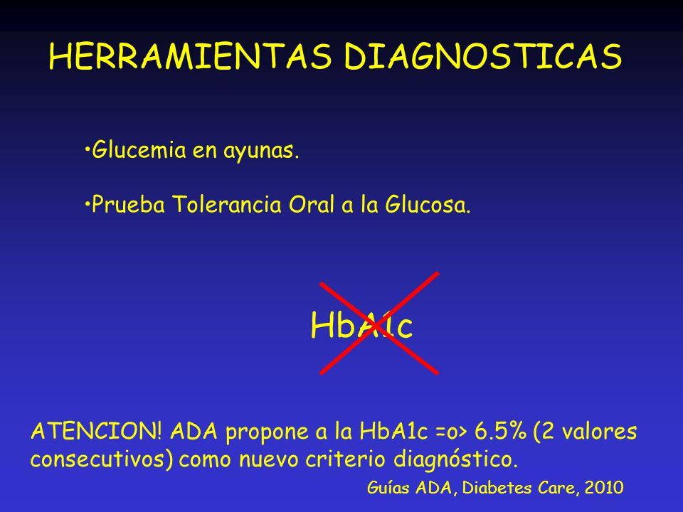 HERRAMIENTAS DIAGNOSTICAS Glucemia en ayunas. Prueba Tolerancia Oral a la Glucosa. HbA1c ATENCION! ADA propone a la HbA1c =o> 6.5% (2 valores consecut