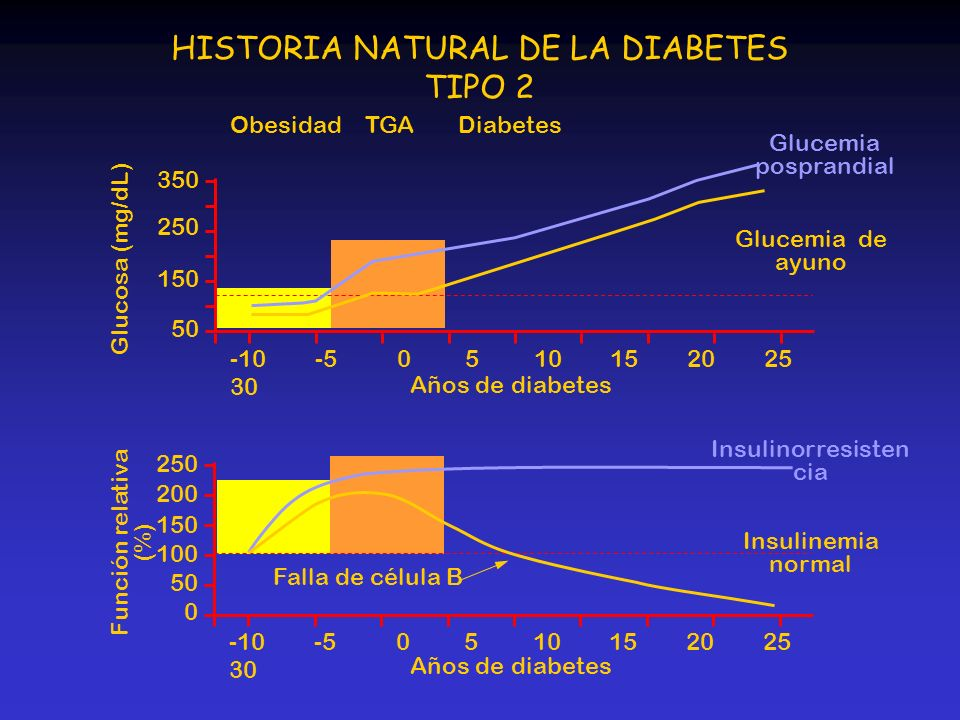 DiabetesTGAObesidad 350 250 150 50 250 200 150 100 50 0 -10 -5 0 5 10 15 20 25 30 Glucosa (mg/dL) Función relativa (%) HISTORIA NATURAL DE LA DIABETES