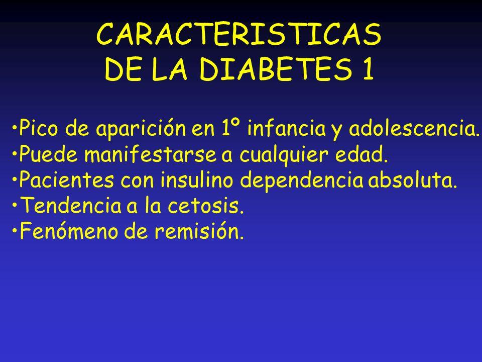 CARACTERISTICAS DE LA DIABETES 1 Pico de aparición en 1º infancia y adolescencia. Puede manifestarse a cualquier edad. Pacientes con insulino dependen