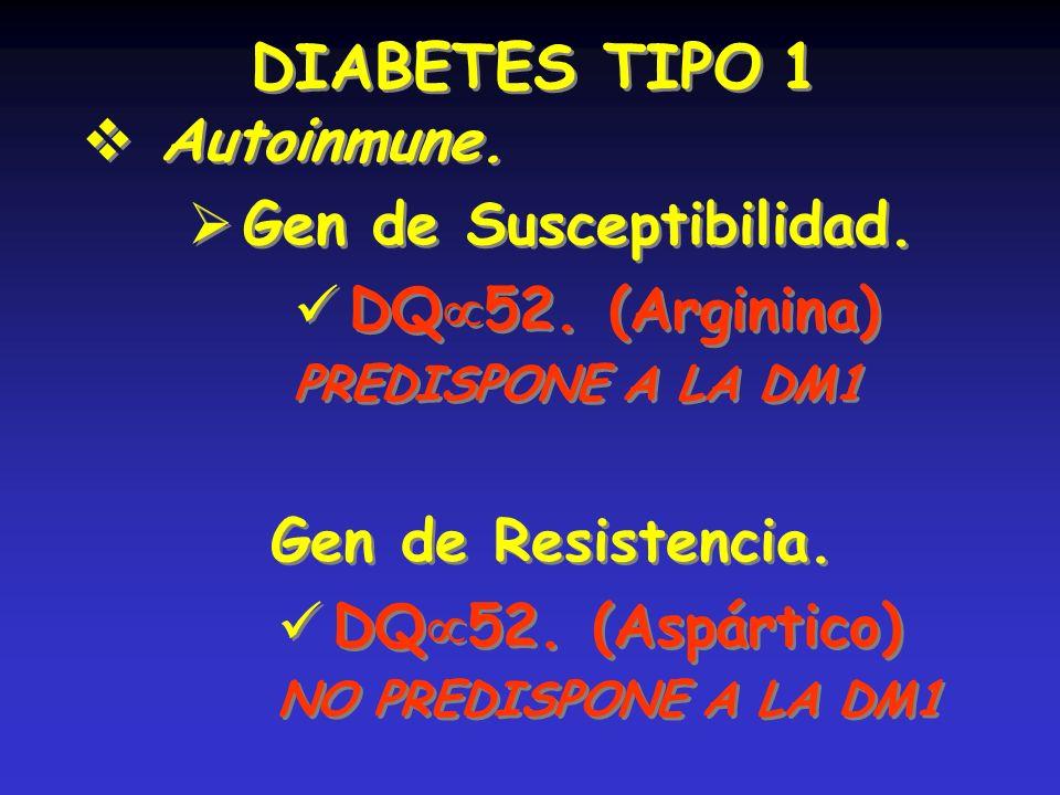 DIABETES TIPO 1 Autoinmune. Gen de Susceptibilidad. DQ 52. (Arginina) PREDISPONE A LA DM1 DIABETES TIPO 1 Autoinmune. Gen de Susceptibilidad. DQ 52. (