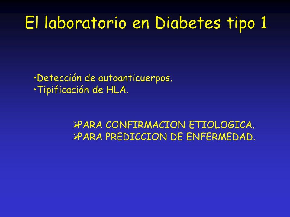 El laboratorio en Diabetes tipo 1 Detección de autoanticuerpos. Tipificación de HLA. PARA CONFIRMACION ETIOLOGICA. PARA PREDICCION DE ENFERMEDAD.