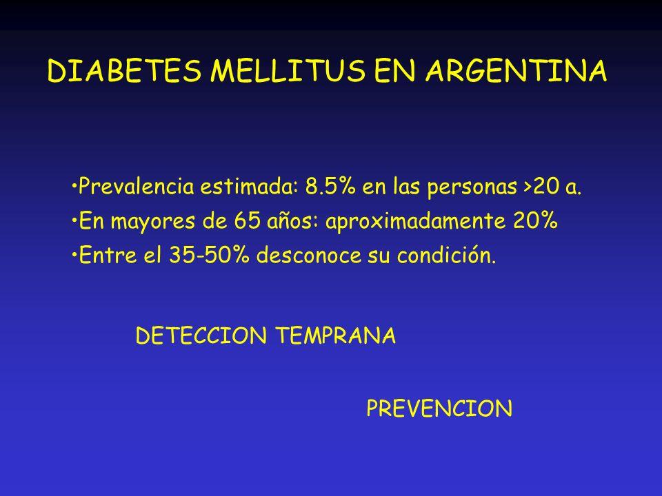 DIABETES MELLITUS EN ARGENTINA Prevalencia estimada: 8.5% en las personas >20 a. En mayores de 65 años: aproximadamente 20% Entre el 35-50% desconoce