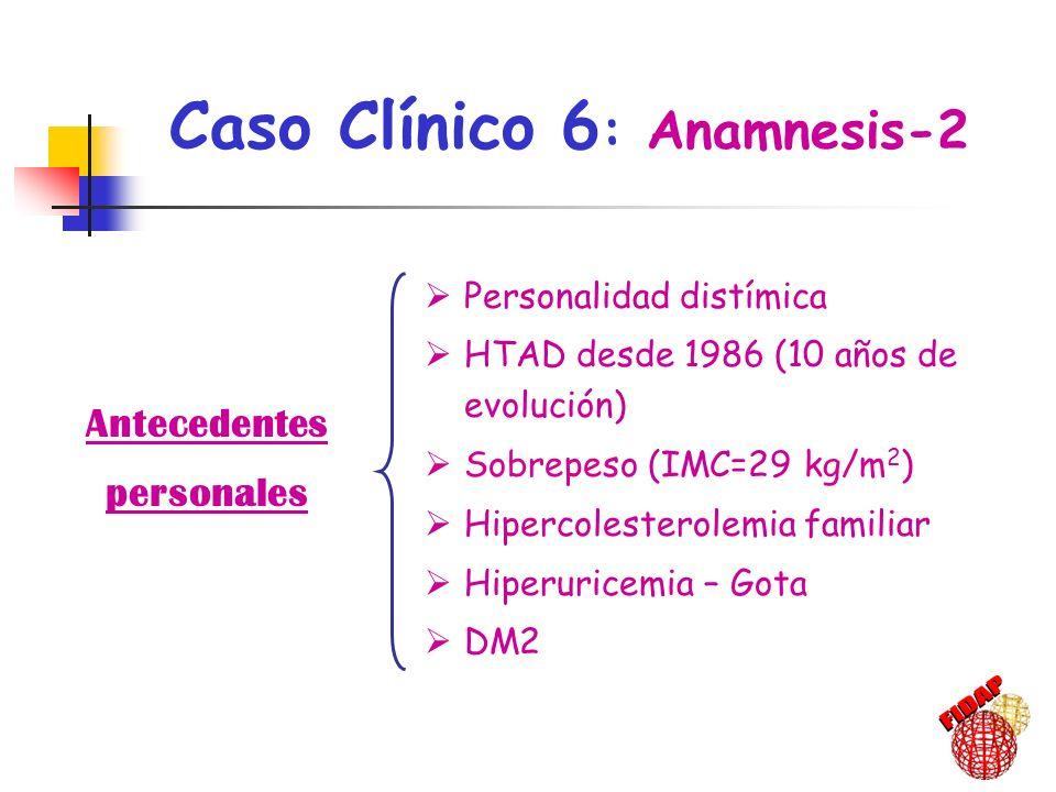 Antecedentes personales Personalidad distímica HTAD desde 1986 (10 años de evolución) Sobrepeso (IMC=29 kg/m 2 ) Hipercolesterolemia familiar Hiperuri