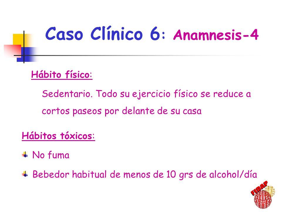 Hábitos tóxicos: No fuma Bebedor habitual de menos de 10 grs de alcohol/día Hábito físico: Sedentario. Todo su ejercicio físico se reduce a cortos pas