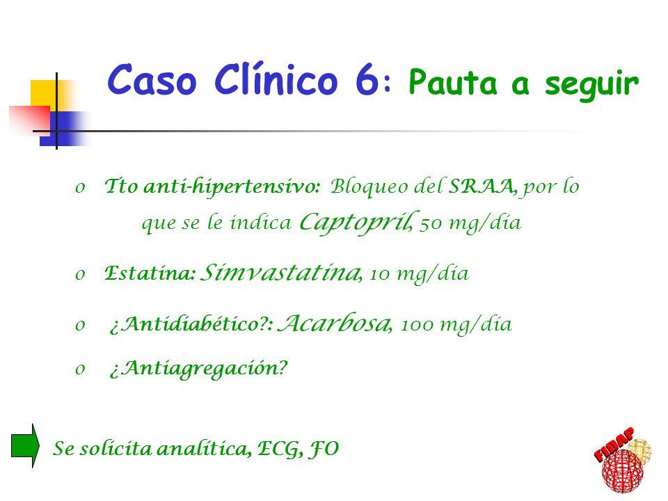 Caso Clínico 6: Evolución-7 años (2003) 77 años de edad: Glucemia: 189 mg/dl HbA 1c : 7.6% Ác.