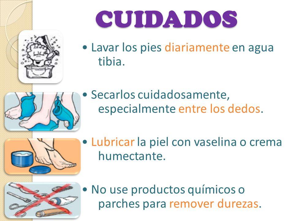 CUIDADOS Lavar los pies diariamente en agua tibia. Secarlos cuidadosamente, especialmente entre los dedos. Lubricar la piel con vaselina o crema humec