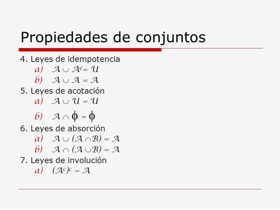 Propiedades de conjuntos 4. Leyes de idempotencia a)A A c = U b)A A = A 5. Leyes de acotación a)A U = U b)A = 6. Leyes de absorción a)A (A B) = A b)A