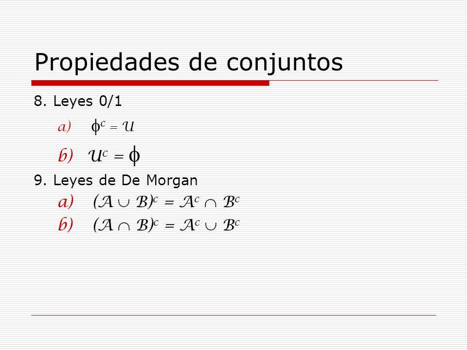 Propiedades de conjuntos 8. Leyes 0/1 a) c = U b)U c = 9. Leyes de De Morgan a) (A B) c = A c B c b) (A B) c = A c B c