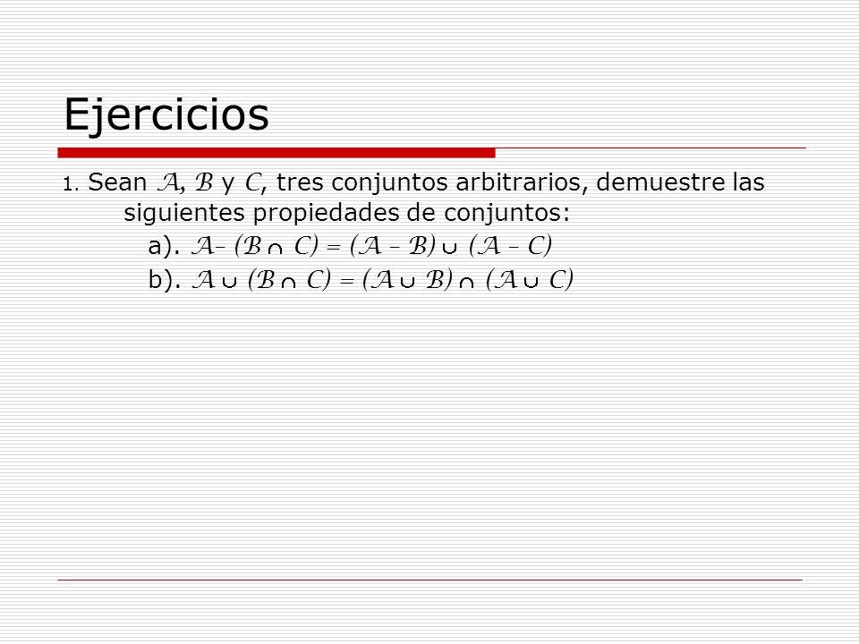 Ejercicios 1. Sean A, B y C, tres conjuntos arbitrarios, demuestre las siguientes propiedades de conjuntos: a). A– (B C) = (A – B) (A – C) b). A (B C)