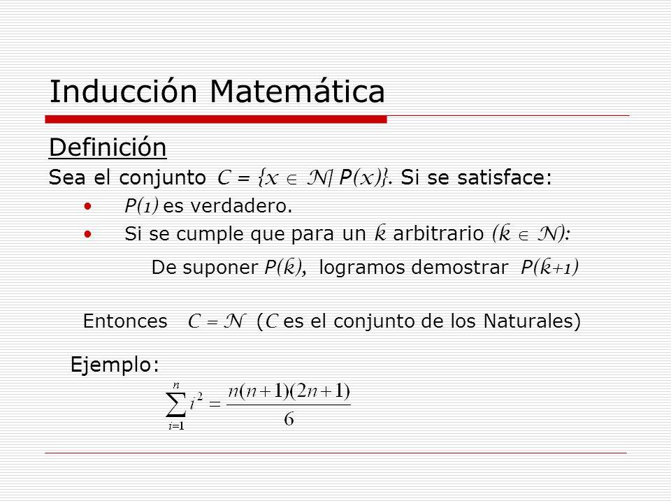 Inducción Matemática Definición Sea el conjunto C = {x N| P (x)}. Si se satisface: P (1) es verdadero. Si se cumple que para un k arbitrario (k N): De