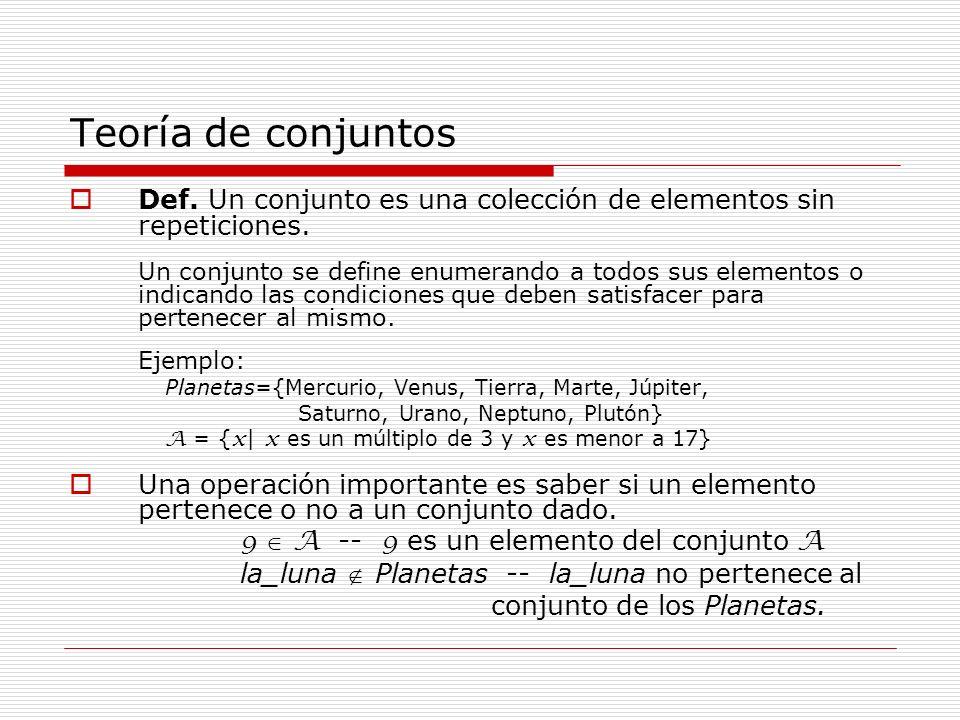 Teoría de conjuntos Def. Un conjunto es una colección de elementos sin repeticiones. Un conjunto se define enumerando a todos sus elementos o indicand