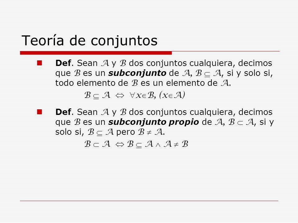 Teoría de conjuntos Def. Sean A y B dos conjuntos cualquiera, decimos que B es un subconjunto de A, B A, si y solo si, todo elemento de B es un elemen