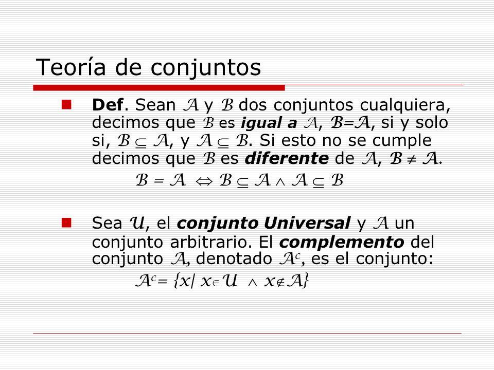 Teoría de conjuntos Propiedades del complemento: 1.(A c ) c = A 2.A c A = U 3.A A c =