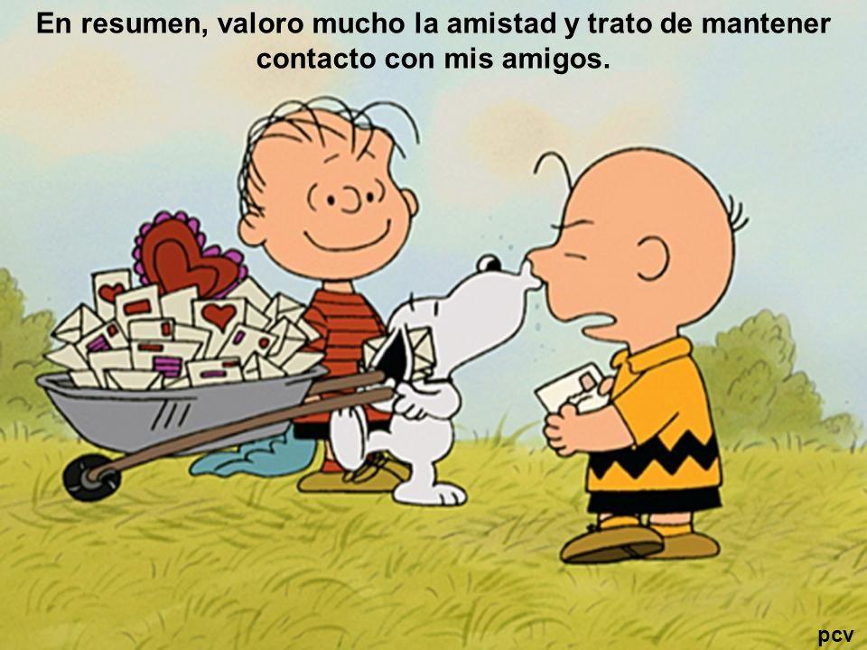 En resumen, valoro mucho la amistad y trato de mantener contacto con mis amigos. pcv