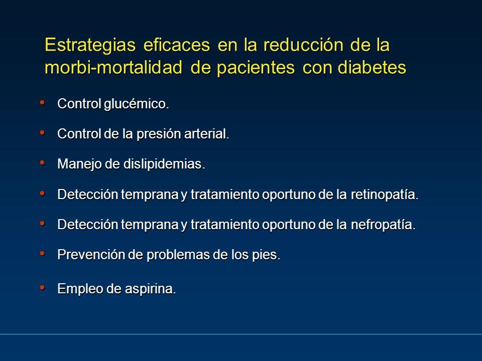 Estrategias eficaces en la reducción de la morbi-mortalidad de pacientes con diabetes Control glucémico. Control glucémico. Control de la presión arte