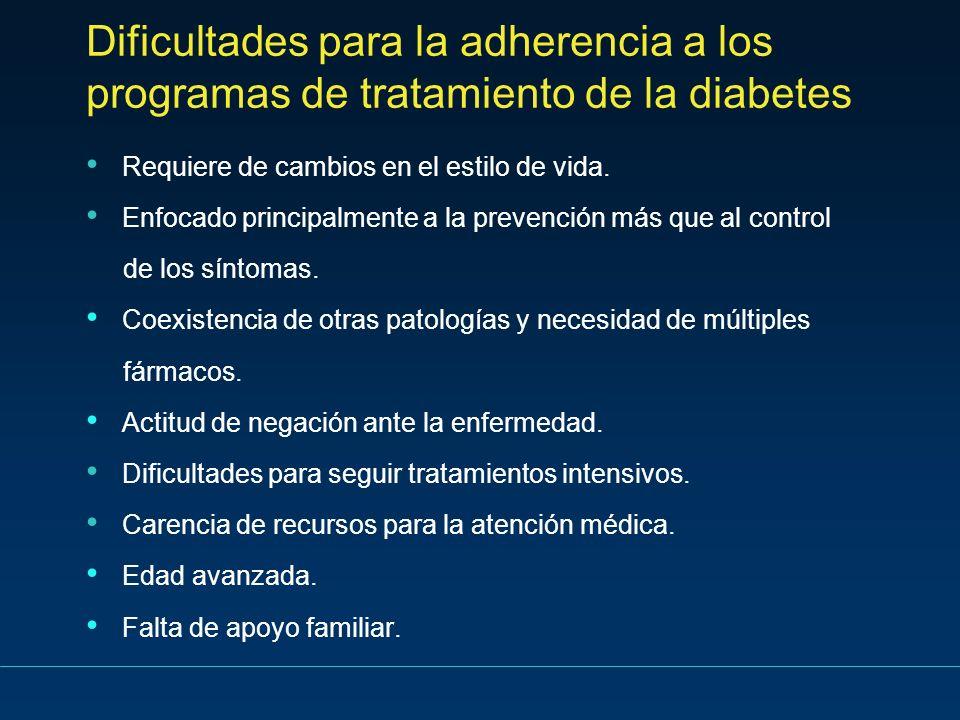 Dificultades para la adherencia a los programas de tratamiento de la diabetes Requiere de cambios en el estilo de vida. Enfocado principalmente a la p