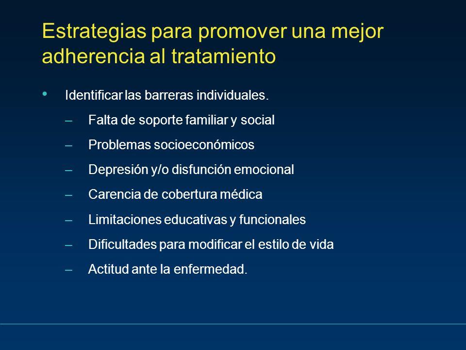 Estrategias para promover una mejor adherencia al tratamiento Identificar las barreras individuales. –Falta de soporte familiar y social –Problemas so