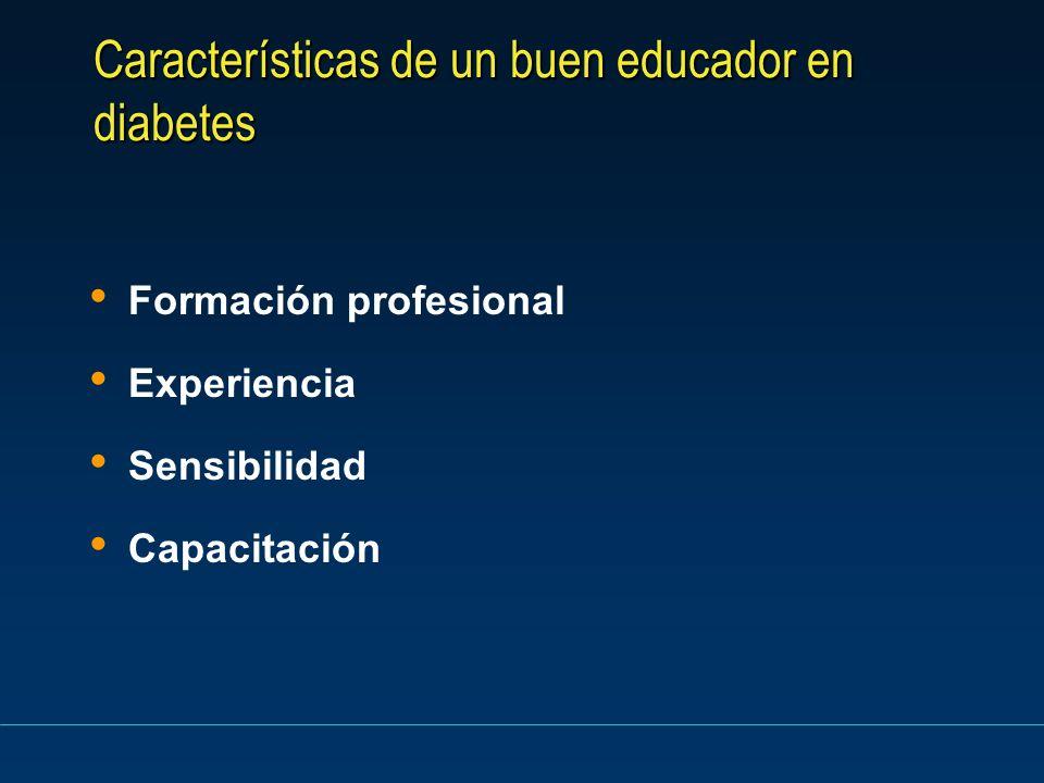 Características de un buen educador en diabetes Formación profesional Experiencia Sensibilidad Capacitación