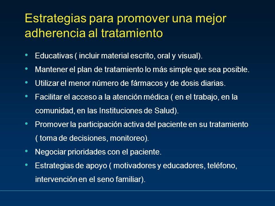 Estrategias para promover una mejor adherencia al tratamiento Educativas ( incluir material escrito, oral y visual). Mantener el plan de tratamiento l