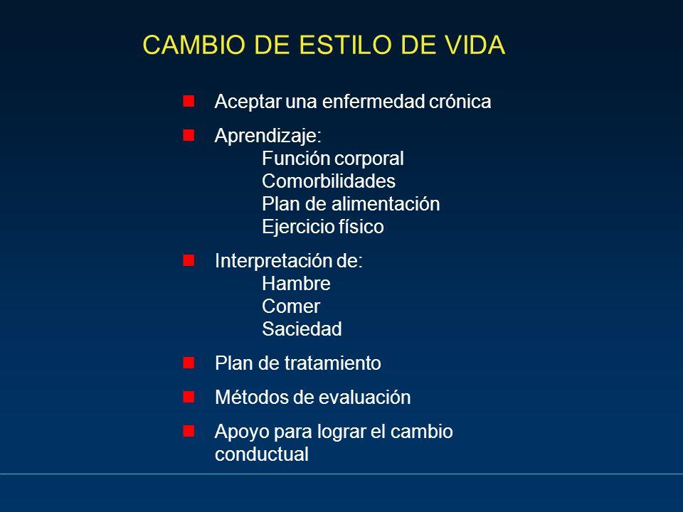 CAMBIO DE ESTILO DE VIDA Aceptar una enfermedad crónica Aprendizaje: Función corporal Comorbilidades Plan de alimentación Ejercicio físico Interpretac