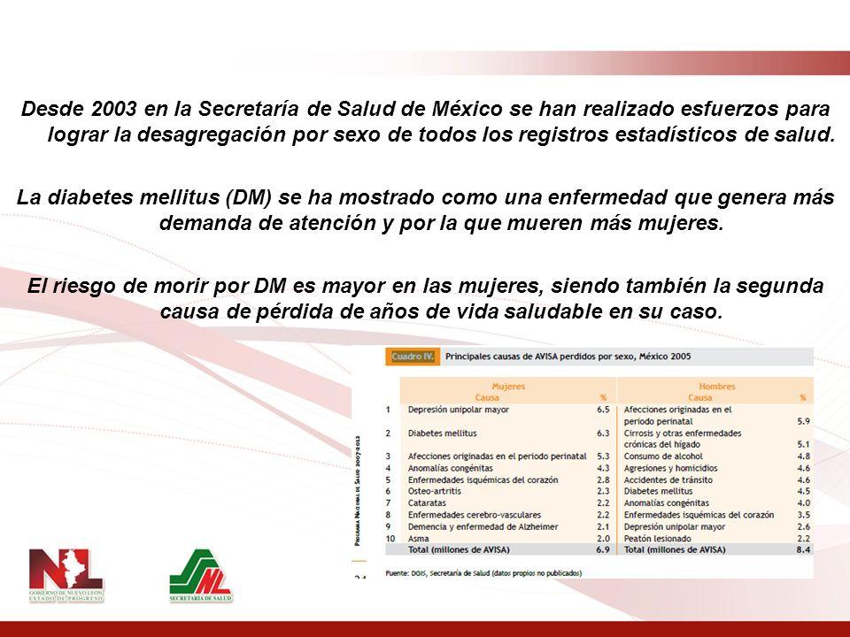 PRINCIPALES CAUSAS DE MUERTE En México hay tres tipos enfermedades que concentran más de 33% de las muertes en mujeres y más de 26% de las muertes en hombres: Diabetes Mellitus Enfermedades isquémicas del corazón Enfermedades cerebro-vasculares