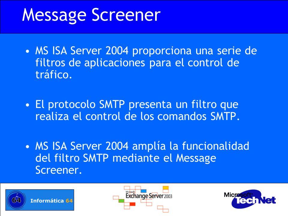 Message Screener MS ISA Server 2004 proporciona una serie de filtros de aplicaciones para el control de tráfico. El protocolo SMTP presenta un filtro