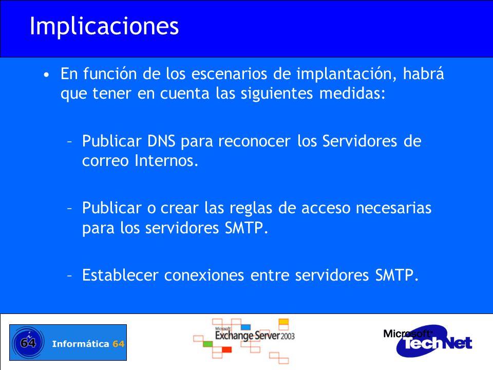 Implicaciones En función de los escenarios de implantación, habrá que tener en cuenta las siguientes medidas: –Publicar DNS para reconocer los Servido