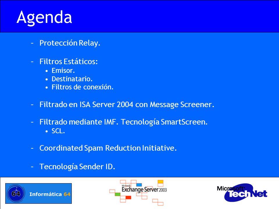 Agenda –Protección Relay. –Filtros Estáticos: Emisor. Destinatario. Filtros de conexión. –Filtrado en ISA Server 2004 con Message Screener. –Filtrado