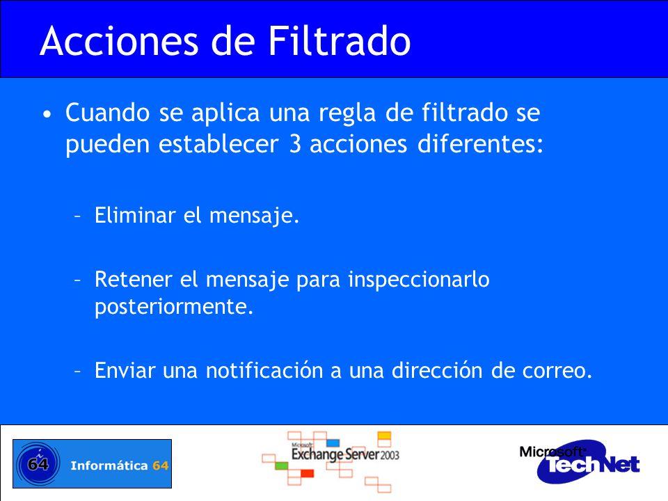 Acciones de Filtrado Cuando se aplica una regla de filtrado se pueden establecer 3 acciones diferentes: –Eliminar el mensaje. –Retener el mensaje para
