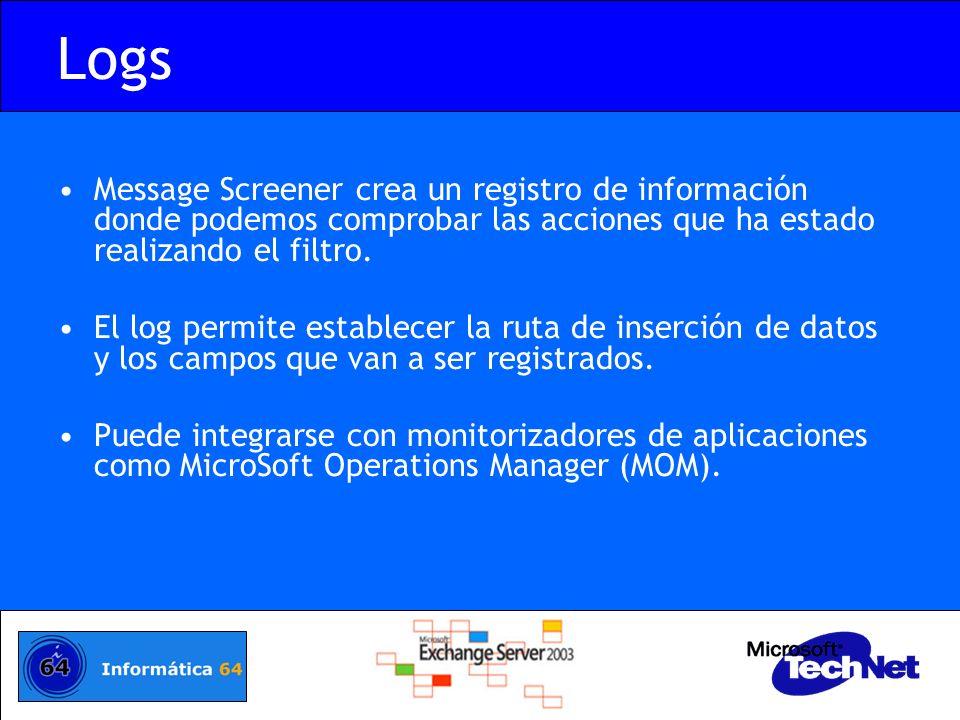 Logs Message Screener crea un registro de información donde podemos comprobar las acciones que ha estado realizando el filtro. El log permite establec