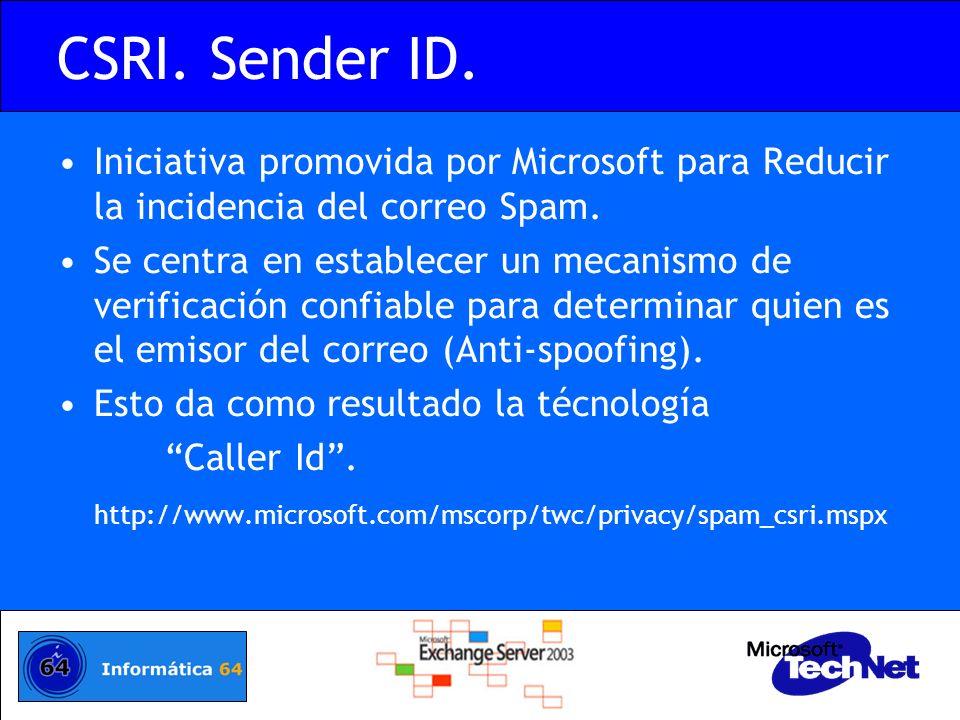 CSRI. Sender ID. Iniciativa promovida por Microsoft para Reducir la incidencia del correo Spam. Se centra en establecer un mecanismo de verificación c
