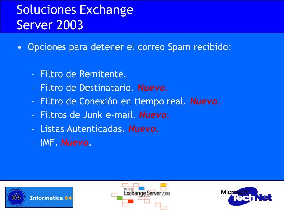 Soluciones Exchange Server 2003 Opciones para detener el correo Spam recibido: –Filtro de Remitente. –Filtro de Destinatario. Nuevo. –Filtro de Conexi