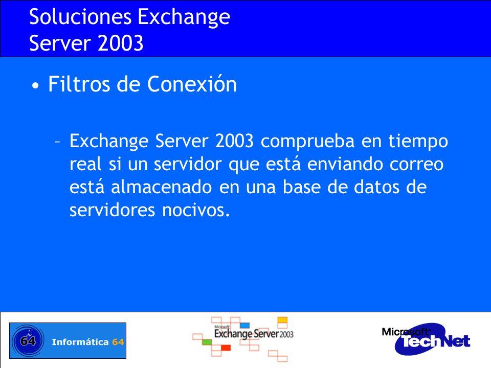 Soluciones Exchange Server 2003 Implantación de filtros de conexión –Implantamos en un servidor DNS una zona de consulta para almacenar los servidores bloqueados.