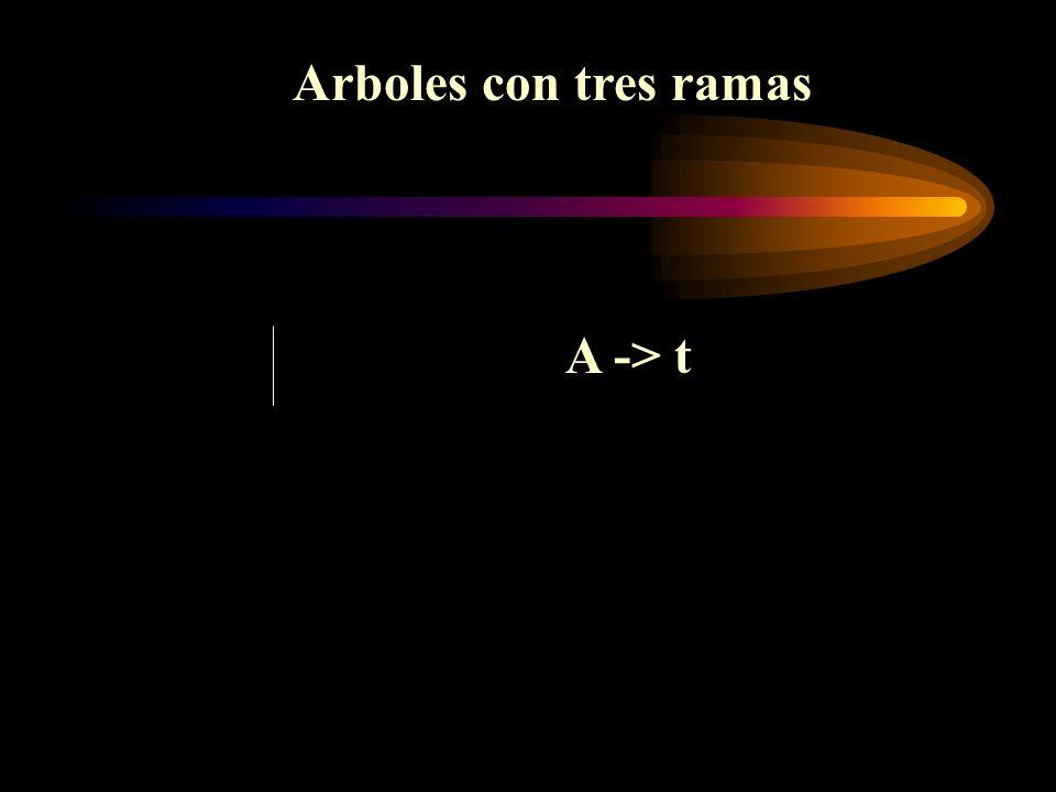 Arboles con tres ramas A -> t